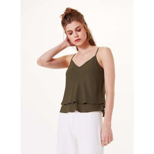 Miss Selfridge PETITE Khaki Cami Top ($18) ❤ liked on Polyvore featuring tops, khaki, petite, polyester camisole, cami tank tops, petite tank tops, white tank and camisole tops