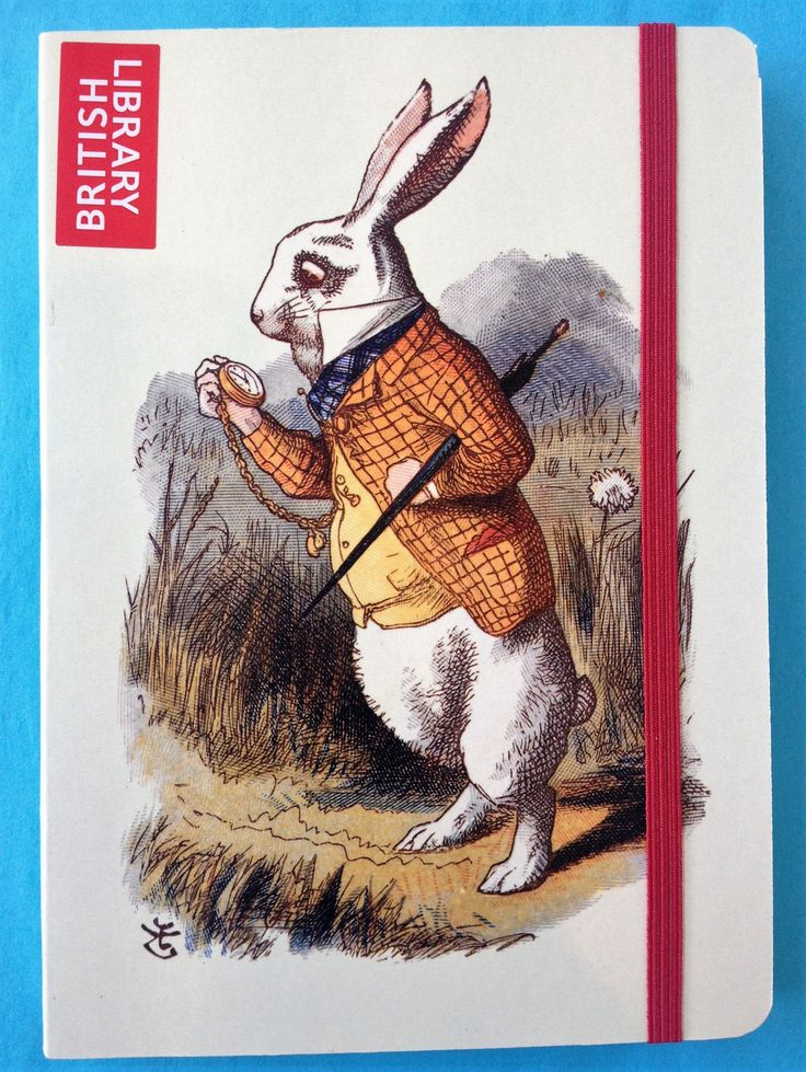 Lined journal featuring Sir John Tenniel's original 1865 illustration of the White Rabbit from 'Alice's Adventures in Wonderland'