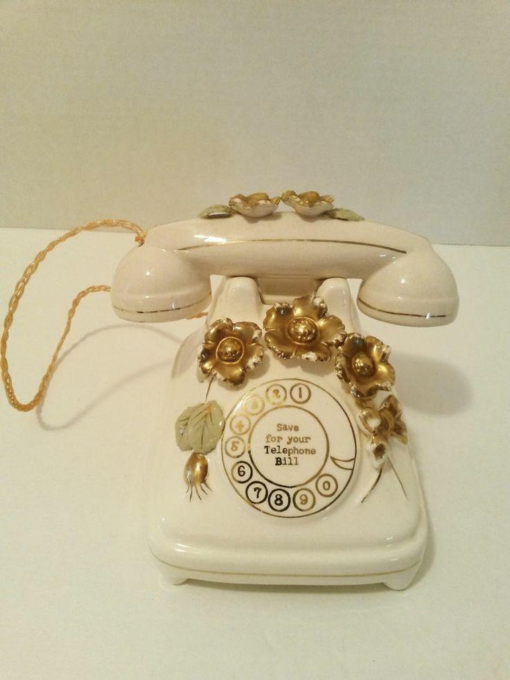 Vintage Ceramic Telephone Bank Music Box Sankyo Japan 52/762 Oh Susanna