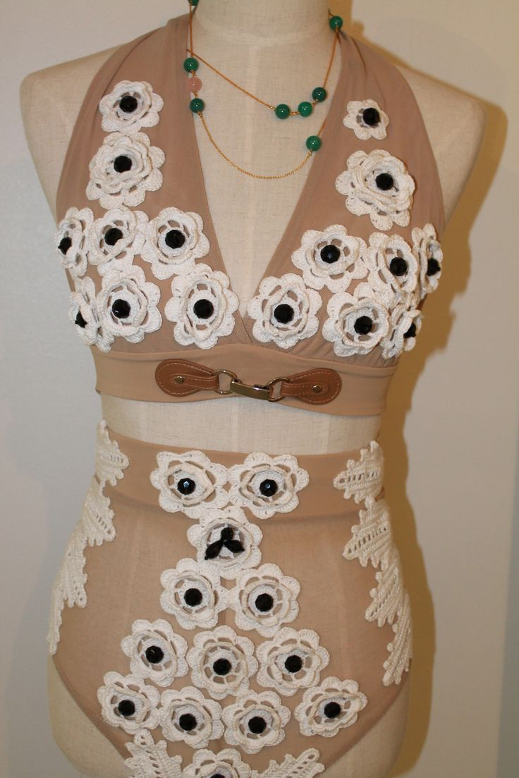 KV Couture, fashion designer Kristina Viirpalu #swimsuit #kvcouture #white #knitted #flowers