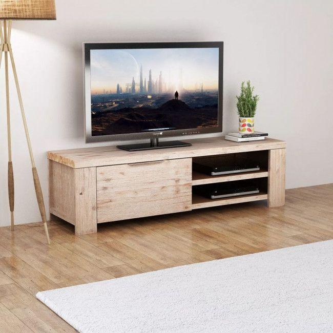 Mueble Para Tv Madera Maciza De Acacia Cepillada 140x38x40 Cm Con
