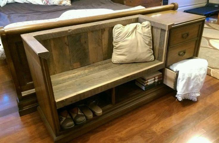 DRESSER BENCH Repurposed Upcycled Converted BARN WOOD Vintage barnwood rustic