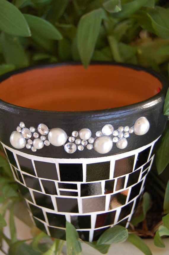 Mosaic Bling On Black Terracotta Planter....REDUCED by 2ndCycle