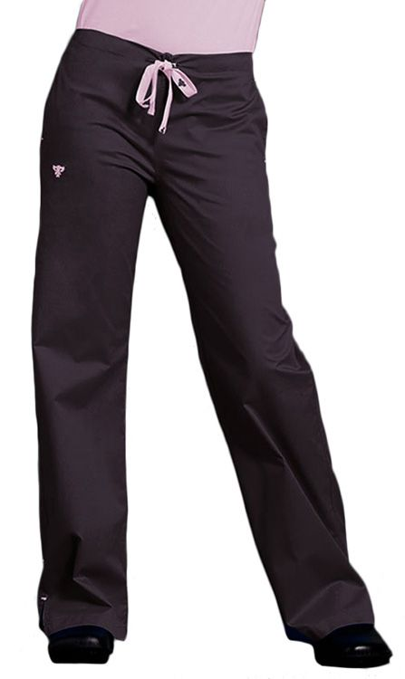These drawstring #scrubpants have back elastic and a straight leg. Color featured here: Charcoal/Powder Pink