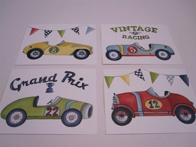 VINTAGE RACE CAR  RACECAR ROADSTER KIDS WALL ART PRINTS BABY BOY racing NURSERY  #BabyNurseryDECORPrint