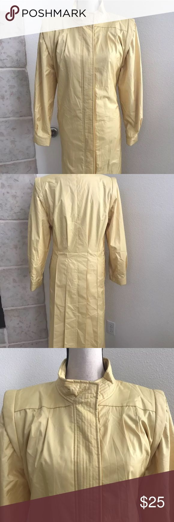 """🌹Vtg J Gallery Rain coat Trench Coat size 11/12P You are buying Vintage J GALLERY Rain Coat Trench WINTER Nylon Coat Women Petite 11-12 Yellow.  STYLE: Trench Coat/ raincoat  COLOR: Yellow  SIZE: Petite 11-12  CONDITION: Excellent condition with no signs of wear, holes, rips.  MEASUREMENTS: LAYING FLAT: Length- 44"""" Shoulder to shoulder- 16"""" Armpit to Armpit(across)- 18"""" Waist(across)- 16"""" Hips(across)- 17"""" Armhole Depth- 23""""  HWR Clst J. Gallery Jackets & Coats Trench Coats"""