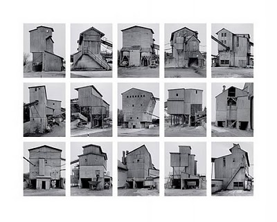 The German artists Bernd (1931 - 2007) and Hilla Becher (1934 -) are best known for their 'typologies' - grids of black and white photographs with variant examples of a single type of industrial structure. At first glance, it looks like multiple angles of the same building, but is actually different images of different buildings. #conceptualphotography