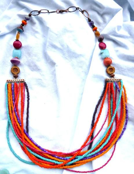 Czech glass, stone, copper metal, ceramic  and seed beaded necklace. - McKee Jewelry Designs