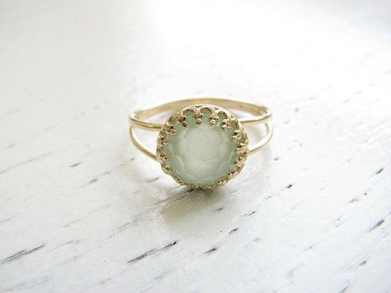Omg.omg.omg.omg. Make this aquamarine and this is everything and more of what I could hope for!   Jade ring Gold ring Green jade ring stacking ring by MoonliDesigns, $26.00