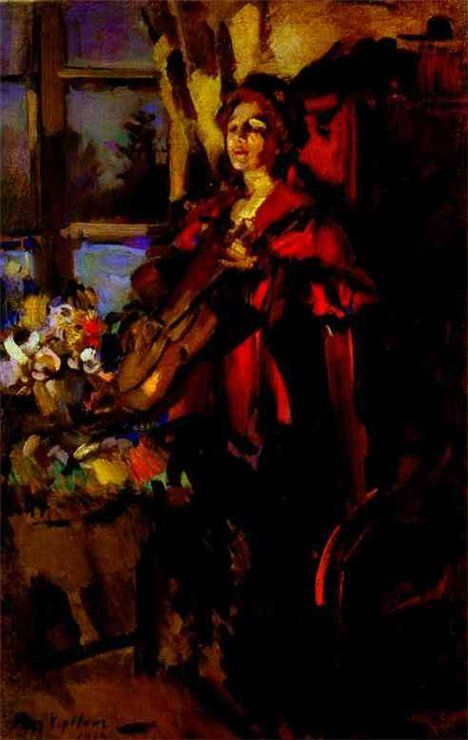Woman with a Guitar, 1919, Konstantin Korovin.  Russian (1861 - 1932)