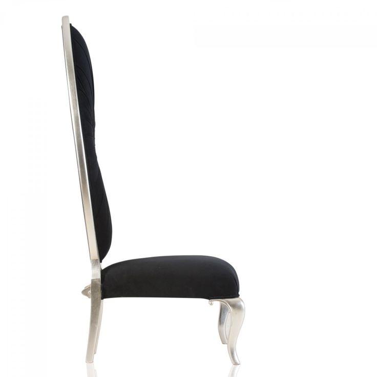 #Designstuhl Show Chair Pomp #Mahagoni Teilmassiv Silber Stoff Schwarz Im # Barockstil Kaufen