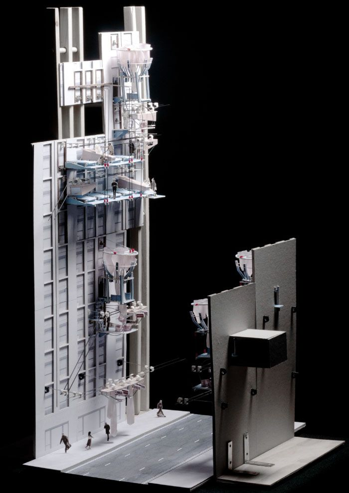 """Wall Mart"" vertical street vending proposal for New York City by Adrienne Lau of the Bartlett School of Architecture"