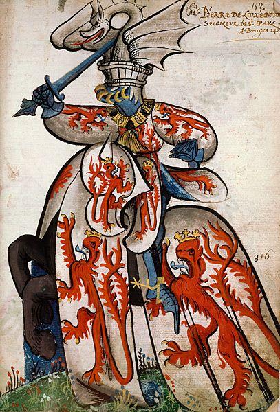 Pierre de Luxembourg, Grand Armorial équestre de la Toison d'Or, Flandres, 1430-1461.