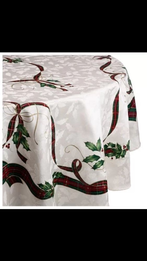 Lenox Holiday Nouveau 70-Inch Round Tablecloth New #Lenox
