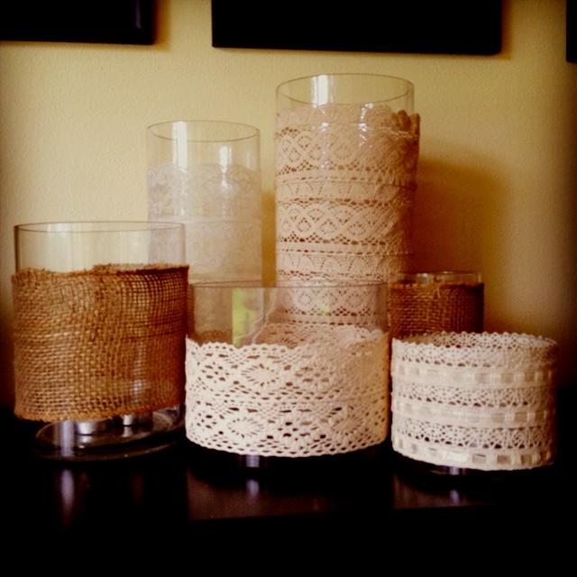 Vintage chic.Vintage Chic, Future Fairytale, Bridal, Vintage Lace, Dyi Ideas, Candle Holders, Candles Holders, Glasses Candles, Crafty Ideas