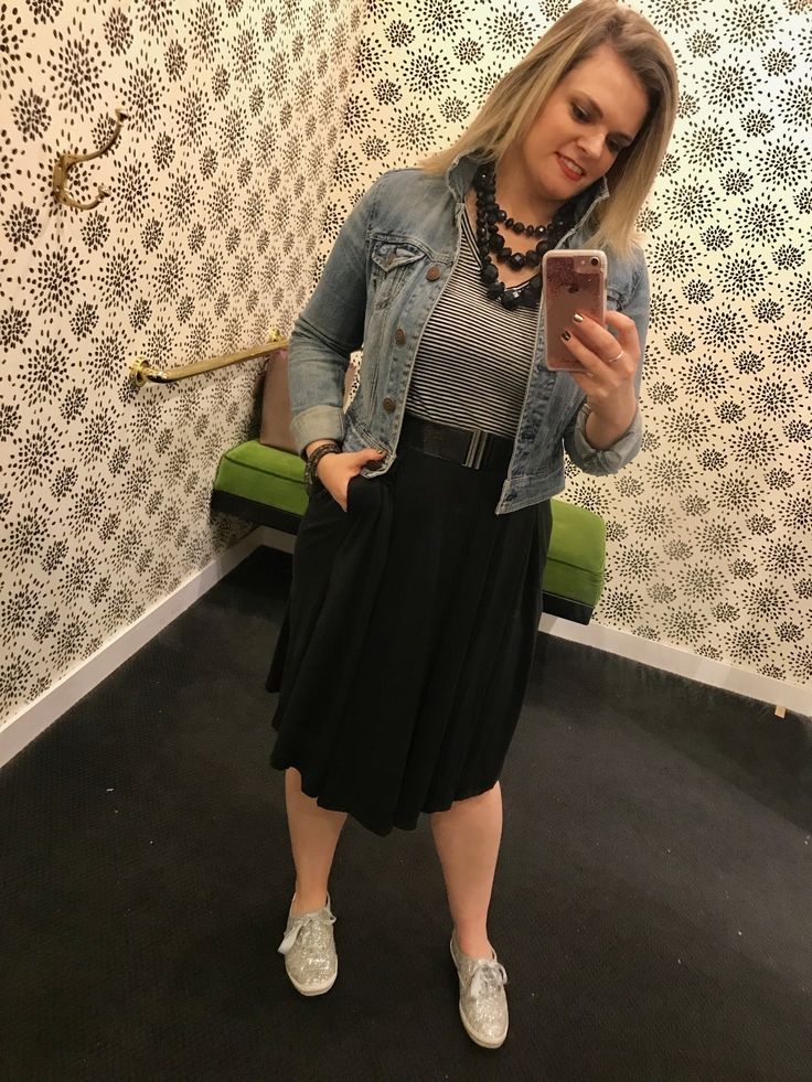 Casual Sunday outfit featuring LuLaRoe Madison skirt in black. Paired with black and white stripe v-neck tee from Target. Belted skirt with pockets. Kate Spade accessories including silver glitter keds. Sneakers with skirt outfit. #llrseptemberchallenge #llrwhitneybriscoe #lularoewhitneybriscoe