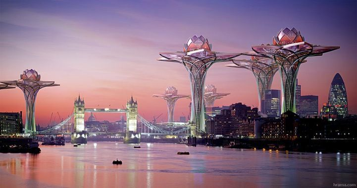 City in the Sky: Futuristic Flower Towers Soar Above Modern Metropolises megatropolis