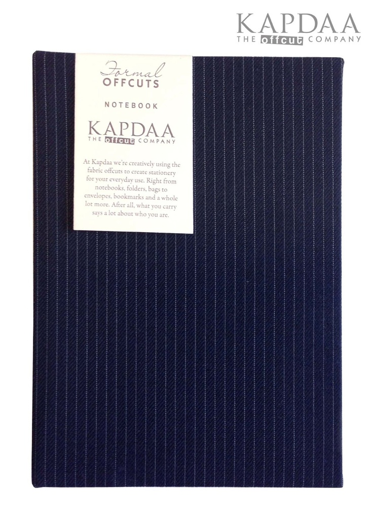 Luxury Designer notebooks, created using Blue Pin Stripe suit fabric -Recycled/Handmade
