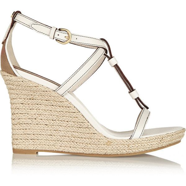 Burberry London Brit textured-leather espadrille wedge sandals ($350) ❤ liked on Polyvore featuring shoes, sandals, wedges, shoes wedge, white, white sandals, white espadrilles, wedge espadrilles, platform sandals and platform wedge sandals