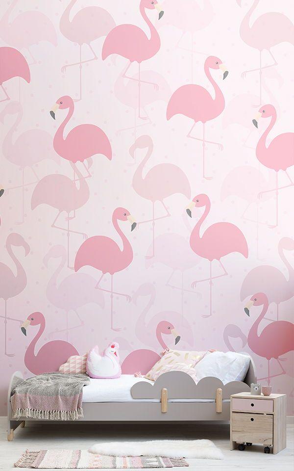 Flamingo Wall Mural Fancy Pink Design Muralswallpaper Flamingo Wallpaper Bedroom Pink Bedroom For Girls Pink Wallpaper Girly