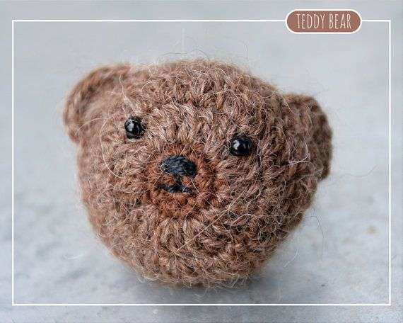 Tiny crocheted Teddy Bear toy//brooch//magnet made by MalnaMarket