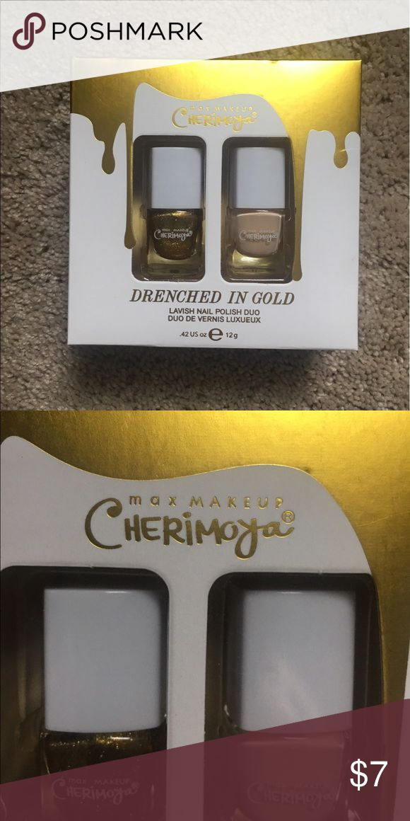 💅🏼NAIL POLISH💅🏼 Max makeup Cherimoya Nail Polish Drenched In GOLD!! 💛💛 Beautiful nude/peach and sparkly gold nail polish, still in the box! Does not have original price sticker on it, but is brand new. Makeup