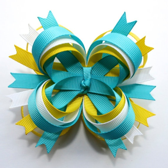 "4"" M2M Carter's Teal Turquoise White Yellow Stacked Boutique Hair Bow"