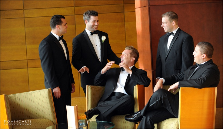 #Groom and #Ushers in black #tuxedos ... having fun @Mandarin Oriental Hotel Group  in Miami:)  #Wedding Photography by www.DominoArts.com