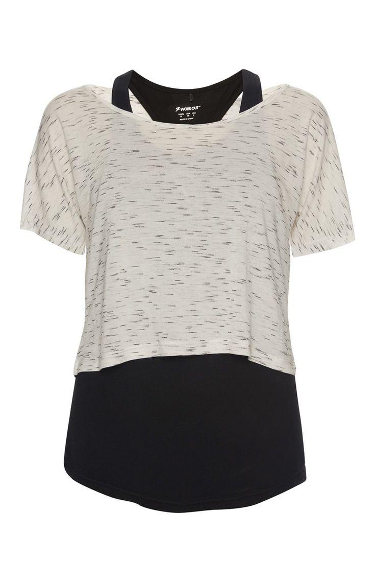 Primark - Ecru en zwart sporthemdje 2-in-1