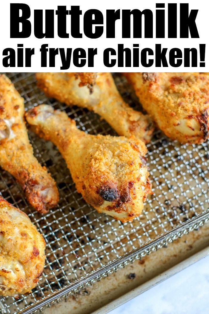 Buttermilk chicken legs in air fryer are crispy on the