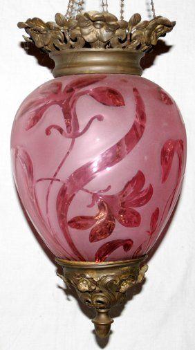 Lot:071204: VICTORIAN CRANBERRY GLASS PENDANT OIL LAMP, Lot Number:71204…