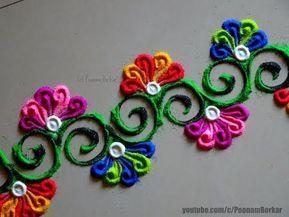 Quick and easy border rangoli | Innovative rangoli designs by Poonam Borkar - YouTube