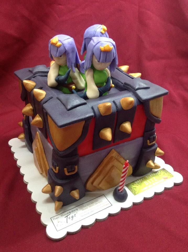 Ordered by a friend for a girl she likes, I made this 4 months before I got addicted to the game this cake represents. Clash of Clans Lvl 12 Archer Tower (highest before latest update) Cake, all edible!