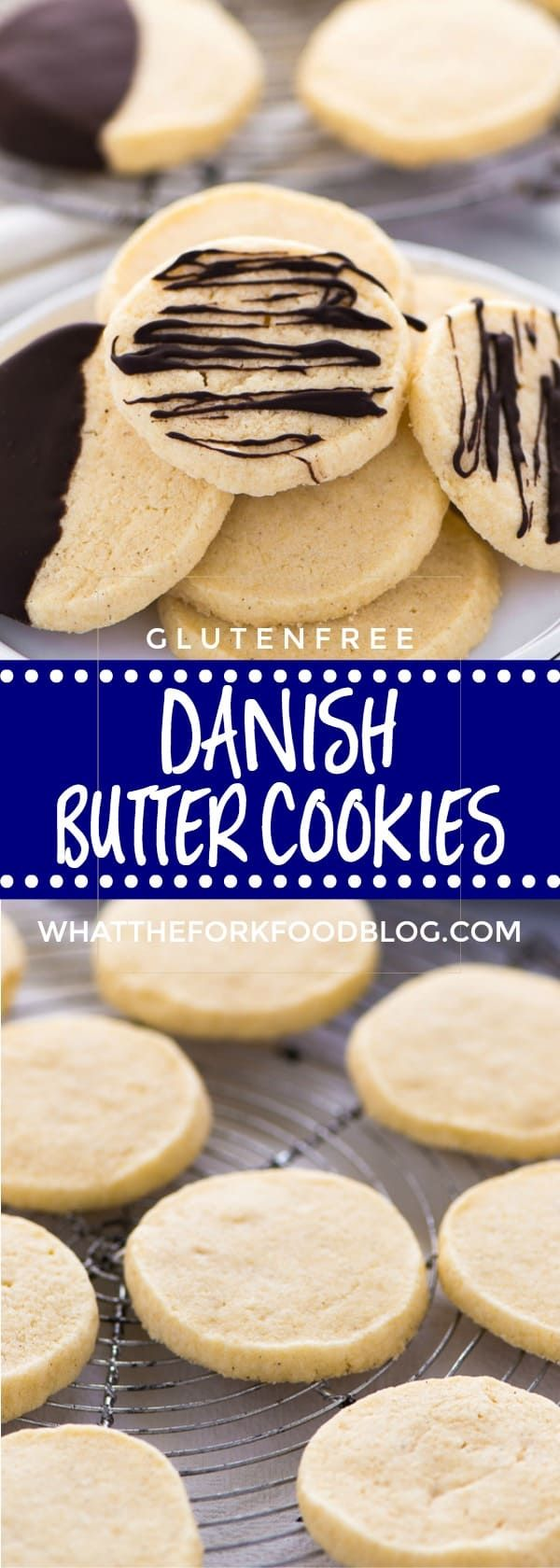 These gluten free Danish Butter Cookies make the perfect homemade holiday gift. Dip them in chocolate or leave them plain! They're great any time of the year too. Recipe from @whattheforkblog | whattheforkfoodblog.com | gluten free baking | gluten free cookie recipes | gluten free desserts | Christmas cookies | holiday baking | easy cookie recipes | slice and bake cookies | #glutenfree #glutenfreecookies #glutenfreerecipes #easyrecipes #cookies #Christmas #chocolate