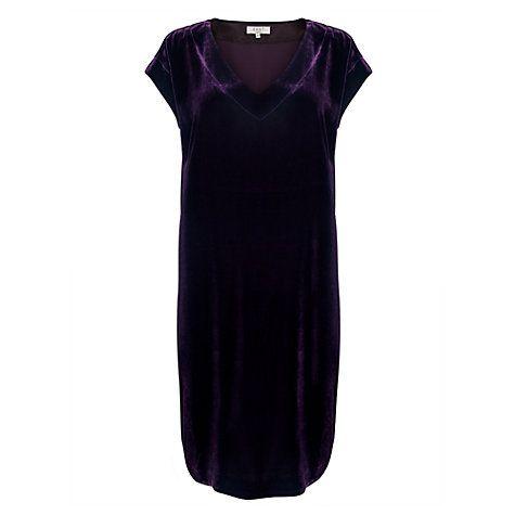 Buy East Velvet Shift Dress, Plum Online at johnlewis.com