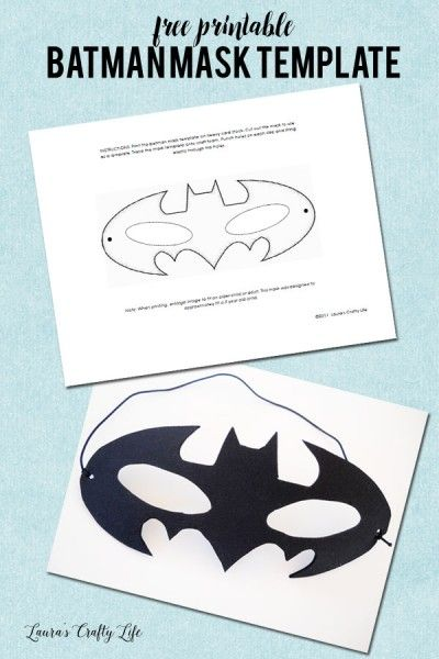 Free Printable Batman Mask Template                                                                                                                                                     More