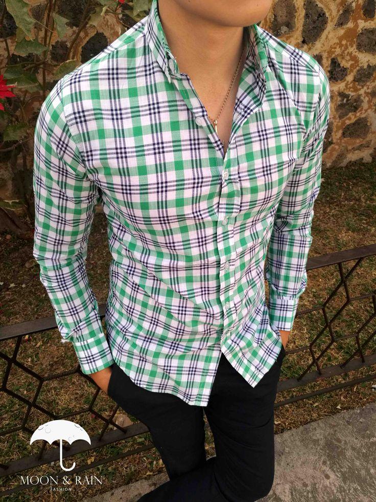 Camisa de cuadros verdes para hombre exclusiva de la marca Moon & Rain por Tiendas Platino