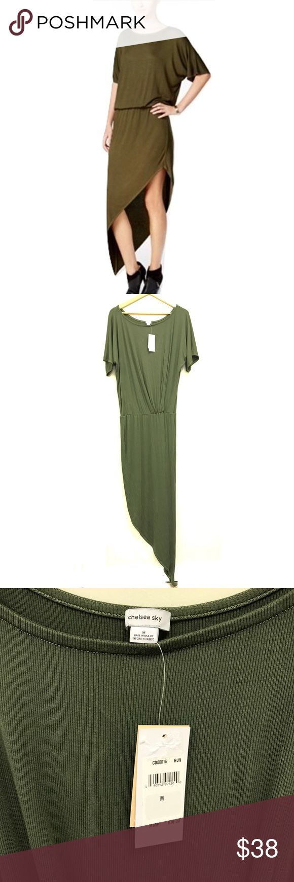 Chelsea Sky Green Asymmetrical Dress Chelsea Sky hunter green asymmetrical dress. Super cute! Size Medium and fits true to size. Brand new with tags! Chelsea Sky Dresses Asymmetrical