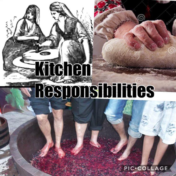 - Women in Greece grind gains  - Women in Greece kneading bread dough  - Men in Greece make wine