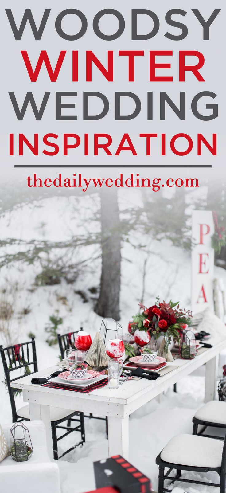 So in love! View the full wedding here: http://thedailywedding.com/2015/12/20/woodsy-winter-wedding-inspiration/
