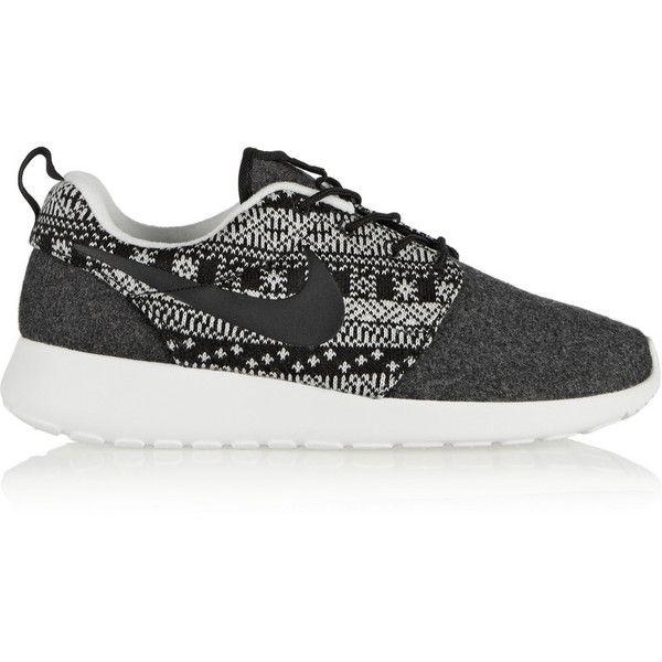 Nike Roshe One Winter wool and wool-felt sneakers ($120) ❤ liked on