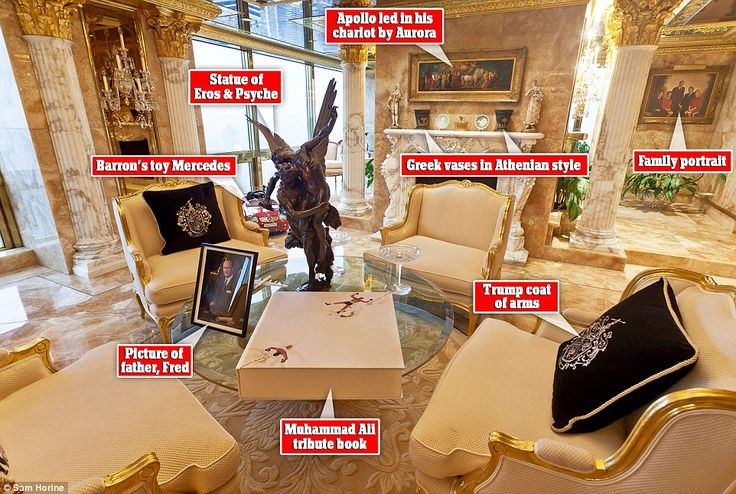Donald Trump has a three-level lavish home that matches his over-the-top personality. His Trump Tower penthouse, New York, is packed with 24-carat gold accents, marble and Louis XIV furniture.