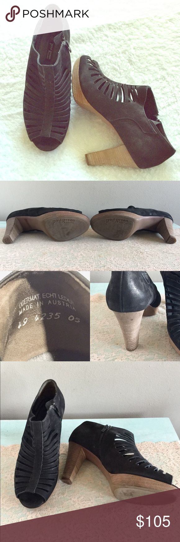 """Paul Green Open Toe Booties Great pair of black Paul Green Munchen Booties!  Soft Leather with a stacked wood platform heel, and a side zipper.  The heel is 3 1/4"""".  Size 5 EU, which is equivalent to 7 1/2"""" in American sizing.  Great condition with minimal wear. Paul Green Shoes Ankle Boots & Booties"""