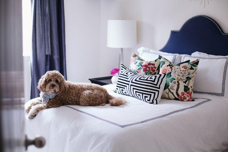 Paloma Contreras - bedrooms - velvet headboard,