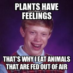 Meme Bad Luck Brian - Plants have feelings That's why I eat animals that are fed out of air - 27781843