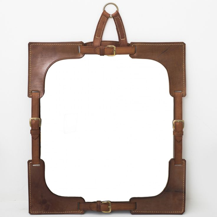 Mirror w. leather frame