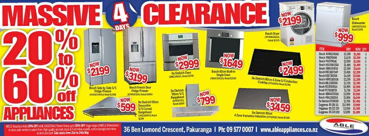 Able Appliances offer clearance sale on refrigerators, washers, dryers, dishwashers, ovens and other electric ranges.