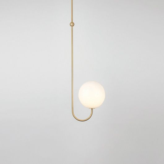 Lights by Michael Anastassiades Mouth blown opaline sphere on satin finish brass.