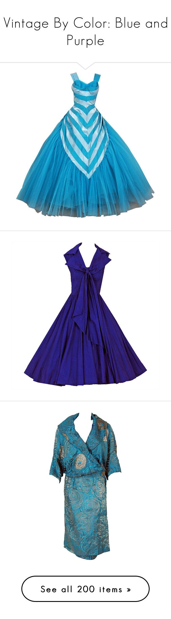 """""""Vintage By Color: Blue and Purple"""" by kellymailinglist ❤ liked on Polyvore featuring dresses, outerwear, coats, gowns, white dress, white velvet dress, purple tea length dresses, tea length party dresses, purple white dress and roaring 20s dress"""
