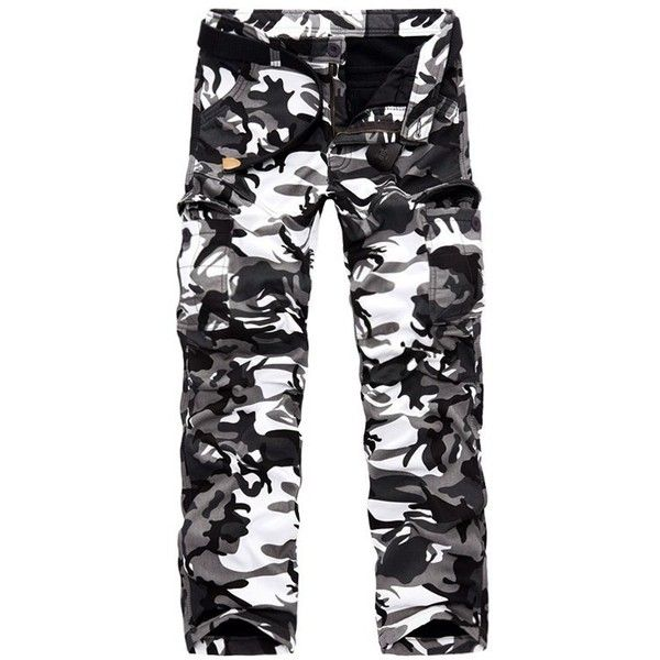 Zipper Fly Fleece Multi Pocket Camo Cargo Pants (36 CAD) ❤ liked on Polyvore featuring men's fashion, men's clothing, men's pants, men's casual pants, mens cargo fleece pants, mens zip off cargo pants, mens camo cargo pants, mens camouflage pants and mens fleece pants